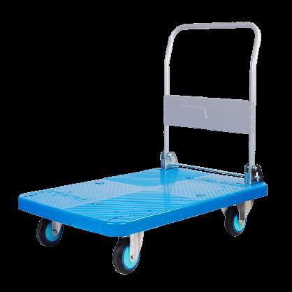 连和推货车搬运车塑料静音平板车手推车拖车蓝色折叠小推车拉货车